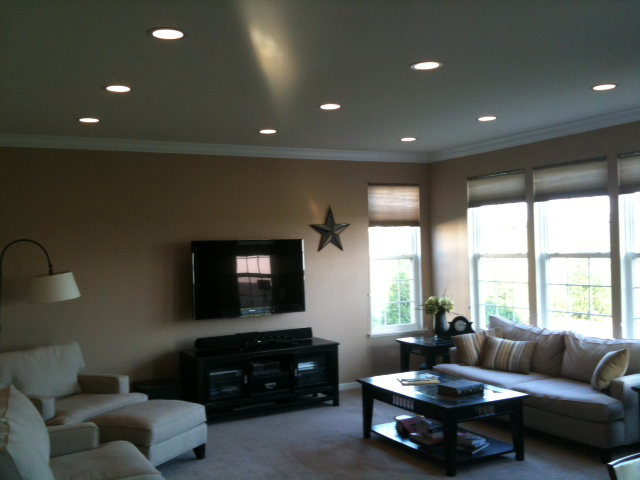 recessed lighting installation drywall repair painting On living room recessed lighting