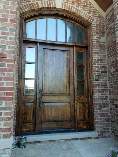 Refinished Front Door In Plainfield Il Drywall Repair
